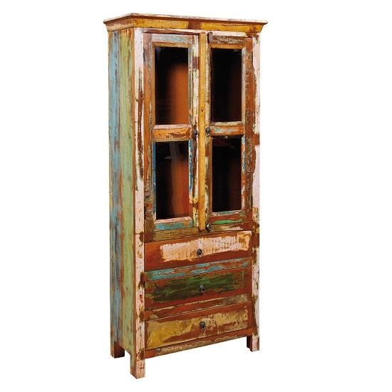 Amelito Display Cabinet In Reclaimed Wood With 2 Doors