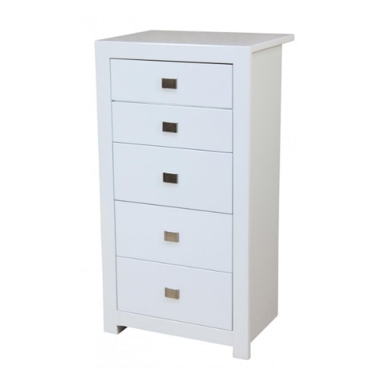 Amentis Chest Of Drawers In White High Gloss With 5 Drawers