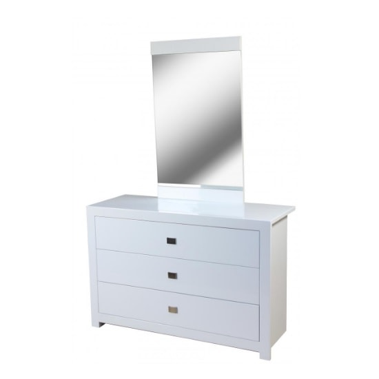 Amentis Dresser With Mirror In White High Gloss And 3 Drawers