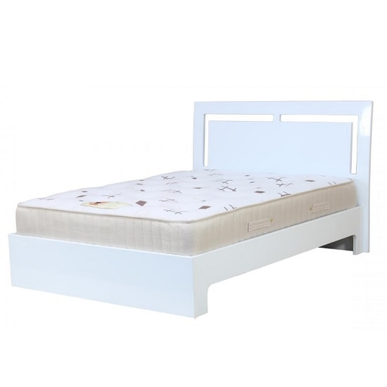 Amentis Double Bed In White High Gloss