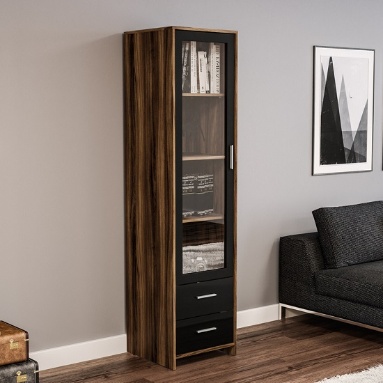 Amerax Glass Display Cabinet In Black And Walnut With 1 Door