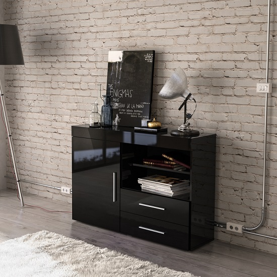 Amerax Wooden Sideboard In Black High Gloss With 1 Door