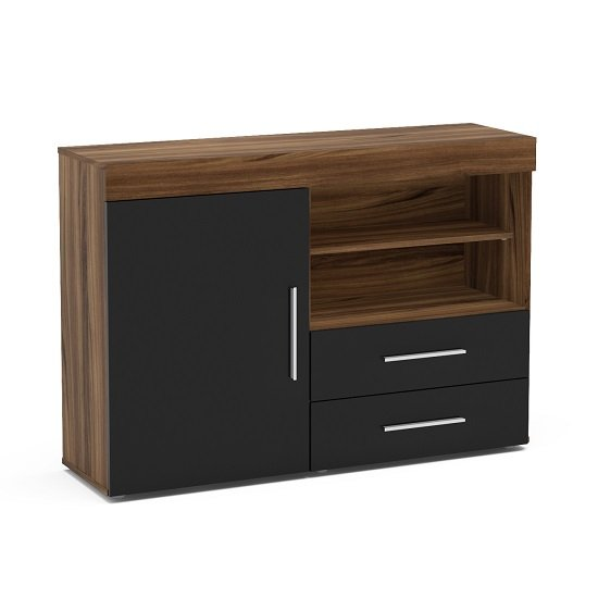 Amerax Wooden Sideboard In Walnut And Black Gloss With 1 Door_2