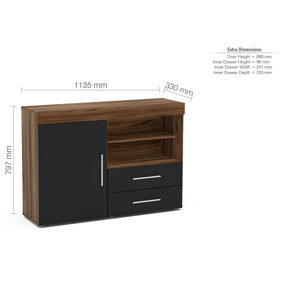 Amerax Wooden Sideboard In Walnut And Black Gloss With 1 Door_3