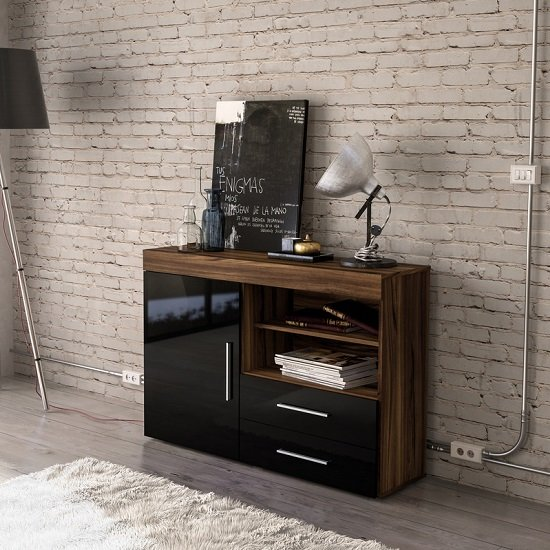 Amerax Wooden Sideboard In Walnut And Black Gloss With 1 Door_1