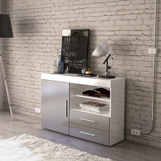 Amerax Wooden Sideboard In White And Grey Gloss With 1 Door