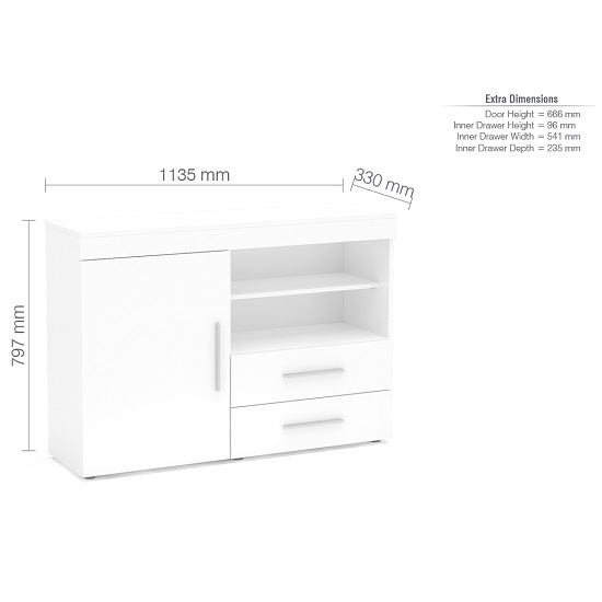 Amerax Wooden Sideboard In White High Gloss With 1 Door_3
