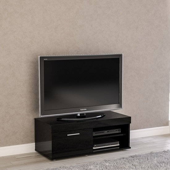 Amerax Small TV Stand In Black High Gloss With 1 Door_1