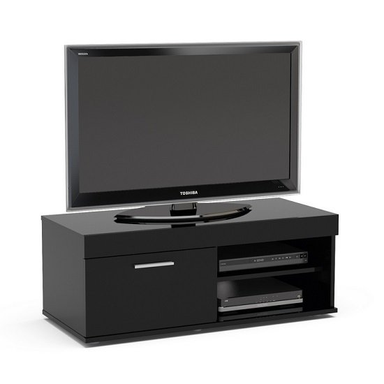 Amerax Small TV Stand In Black High Gloss With 1 Door_2
