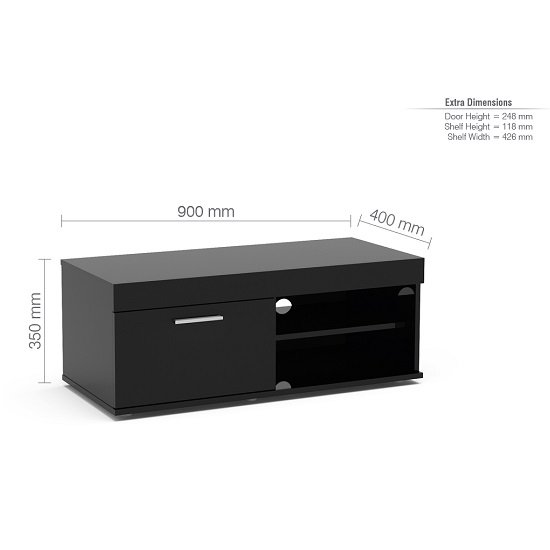 Amerax Small TV Stand In Black High Gloss With 1 Door_3