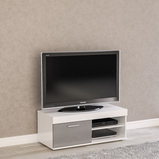 Amerax Small TV Stand In White And Grey Gloss With 1 Door