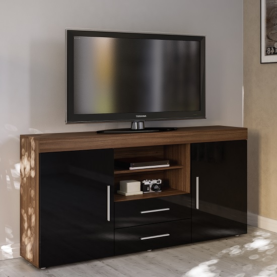 Amerax TV Sideboard In Walnut And Black High Gloss With 2 Doors