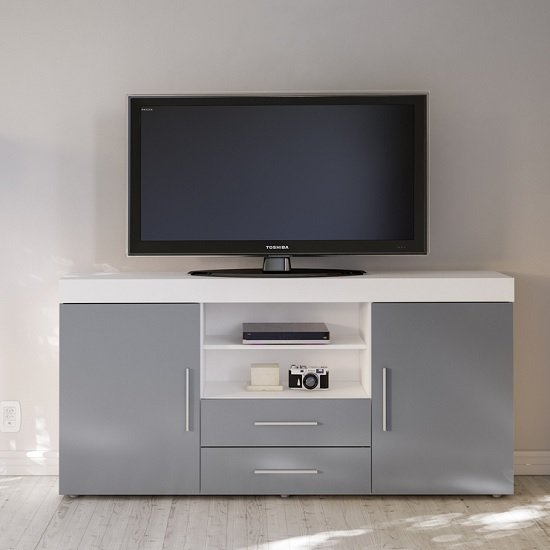 Amerax TV Sideboard In White And Grey High Gloss With 2 Doors_2
