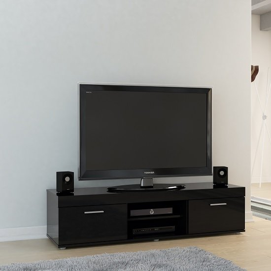 Amerax TV Stand In Black High Gloss With 2 Doors