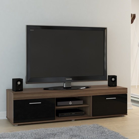Amerax TV Stand In Walnut And Black High Gloss With 2 Doors