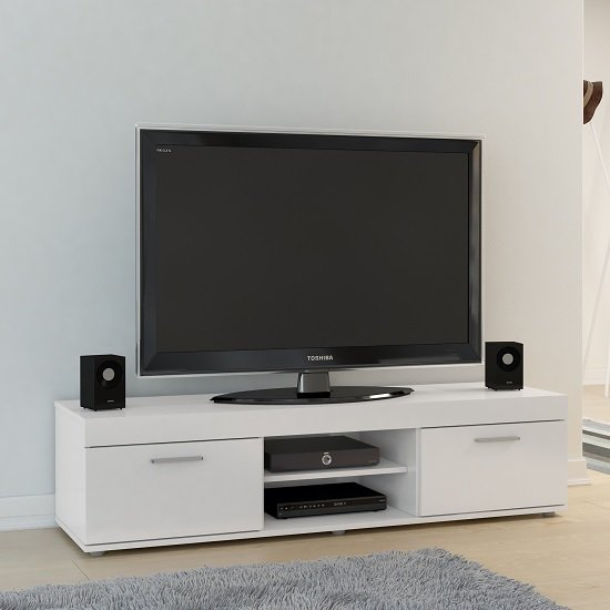 Amerax TV Stand In White High Gloss With 2 Doors