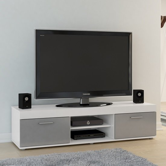 Amerax TV Stand In White And Grey High Gloss With 2 Doors
