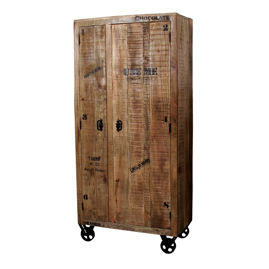 Product photograph showing Amerax Wooden Hallway Wardrobe In Mango Wood With 2 Doors
