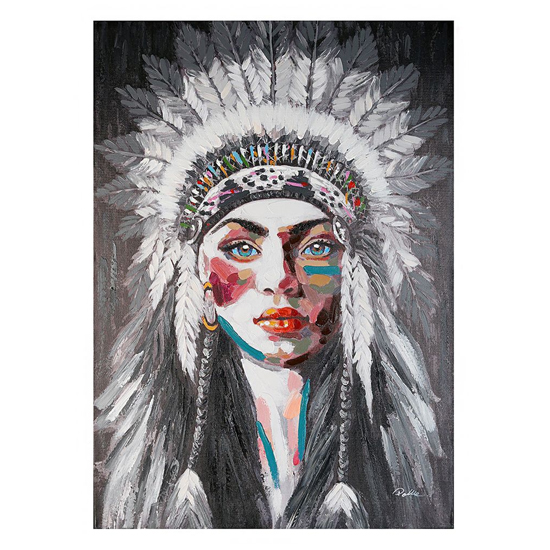 American Indian Picture Canvas Wall Art In Black And Multicolor