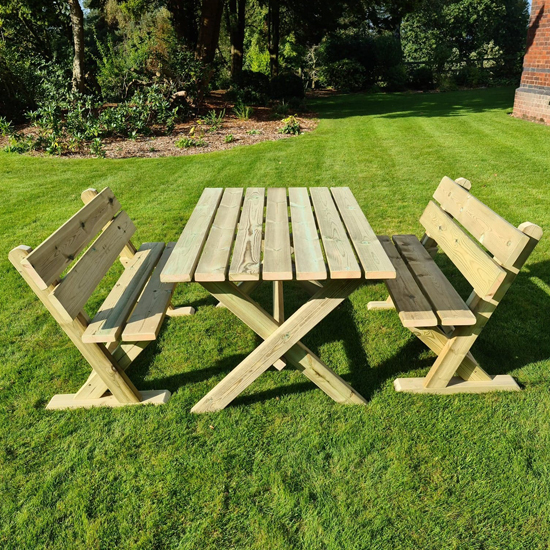 Amersham Wooden 4 Seater Dining Set With Benches