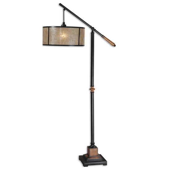 Amery Floor Lamp In Natural Mica With Black Metal
