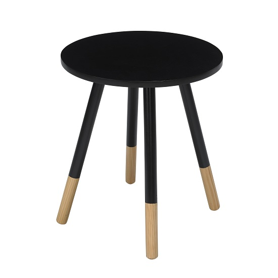 Amesbury Wooden Side Table Round In Black