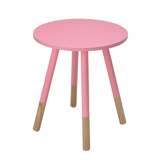 Amesbury Wooden Side Table Round In Pink