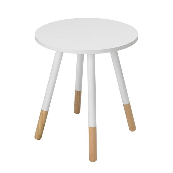 Amesbury Wooden Side Table Round In White