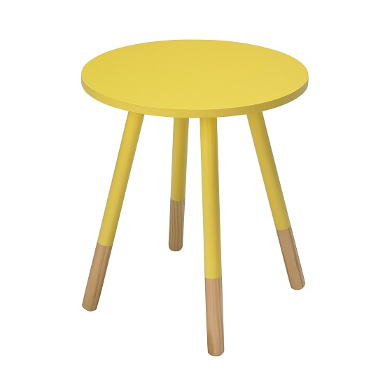Amesbury Wooden Side Table Round In Yellow
