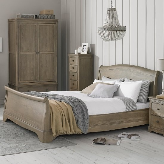 Ametis Wooden Sleigh Double Bed In Grey Washed Oak
