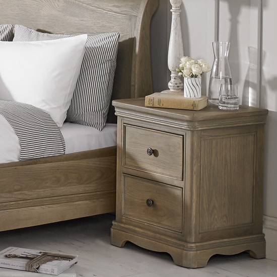 Ametis Bedside Cabinet In Grey Washed Oak With 2 Drawers
