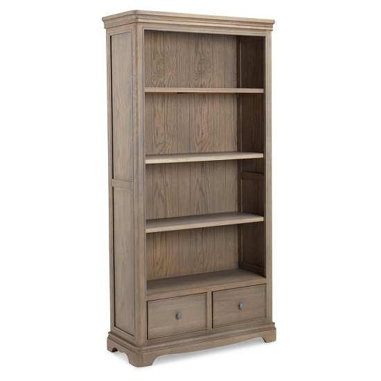 Ametis Wooden Bookcase In Grey Washed Oak With 2 Drawers