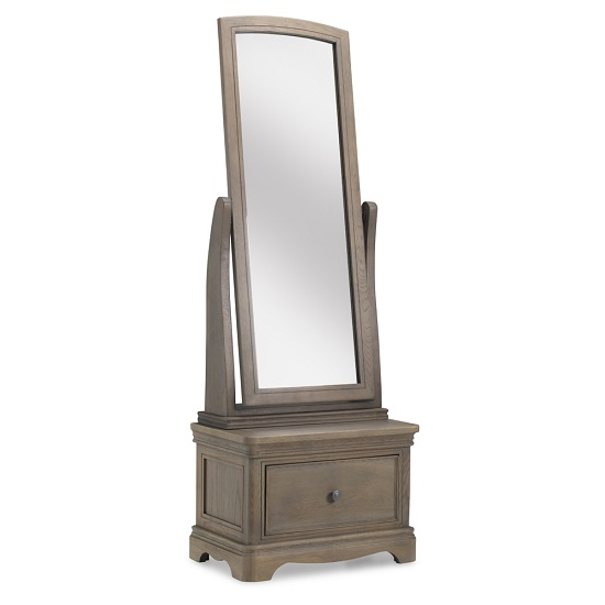 Ametis Sleigh Cheval Mirror In Grey Washed Oak With 1 Drawer