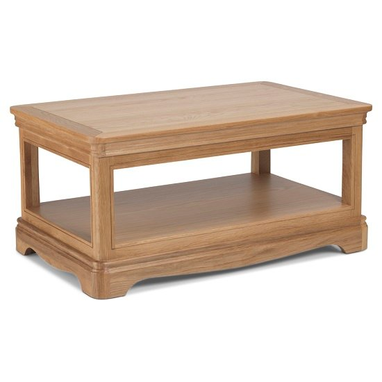 Ametis Wooden Coffee Table Rectangular In Oak With Shelf_1