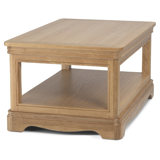 Ametis Wooden Coffee Table Rectangular In Oak With Shelf_2