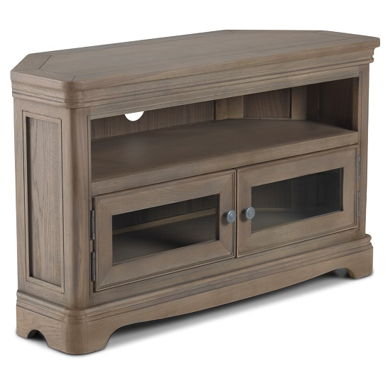 Ametis Wooden Corner TV Stand In Grey Washed Oak With 2 Doors