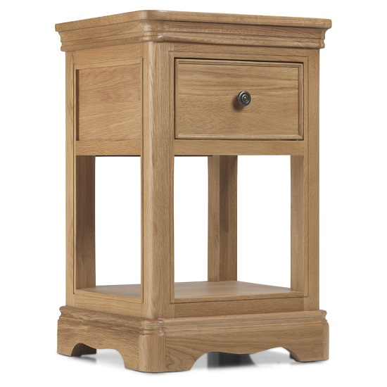 Ametis Wooden Lamp Table In Oak With 1 Drawer_2