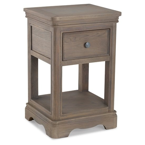 Ametis Wooden Lamp Table In Grey Washed Oak With 1 Drawer