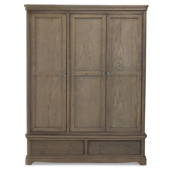 Ametis Wardrobe In Grey Washed Oak With 3 Doors And 2 Drawers_2