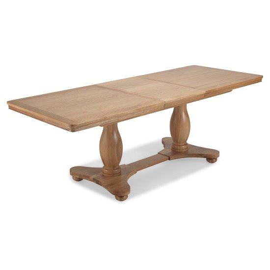 Ametis Pedestal Extendable Dining Table Rectangular In Oak