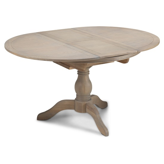 Ametis Pedestal Extendable Dining Table Oval In Grey Washed Oak