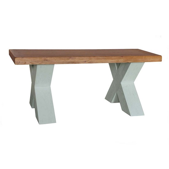 Amias Wooden Coffee Table In Sky Grey With X Shaped Base