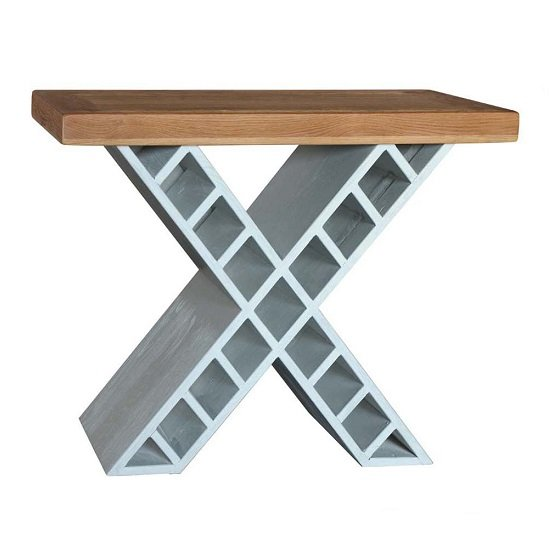 Amias Wooden Console Table In Sky Grey With X Shaped Base