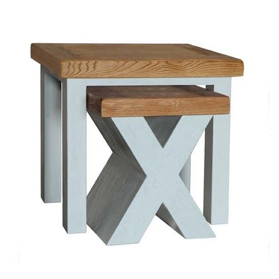 Amias Wooden Nest Of Tables In Sky Grey With X Shaped Base