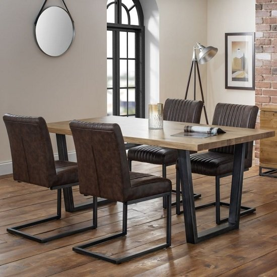 Amilia Wooden Dining Table In Solid Oak With 4 Brown Chairs