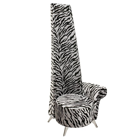 Amily Left Handed Potenza Chair In Silver Velvet Tiger Print