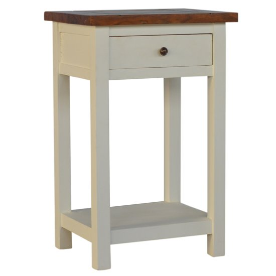 Amish Wooden Bedside Table In White And Honey With 1 Drawer