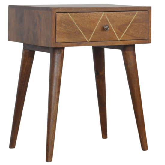 Amish Wooden Brass Inlay Bedside Cabinet In Chestnut 1 Drawer