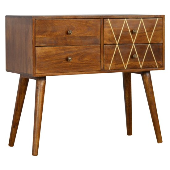 Amish Wooden Brass Inlay Console Table In Chestnut With 4 Drawer