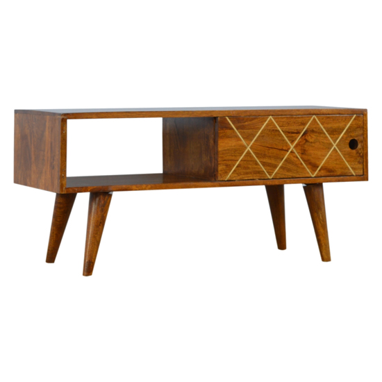 Amish Wooden Brass Inlay TV Stand In Chestnut With Open Slot
